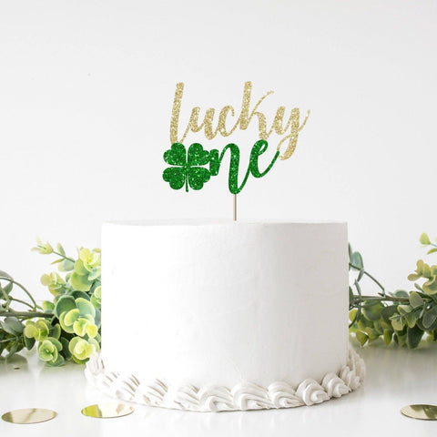 Lucky one St. Patricks Day themed Birthday cake topper. One shamrock First birthday