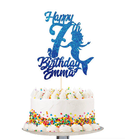 Mermaid Cake Topper With Age And Name