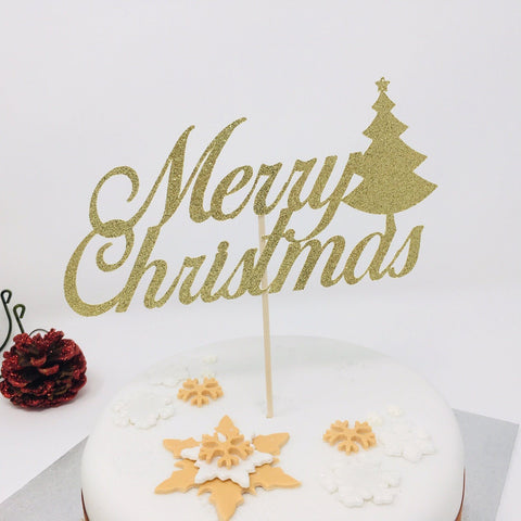 Merry Christmas Cake Topper with Christmas Tree