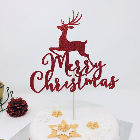 Merry Christmas Cake Topper with Reindeer