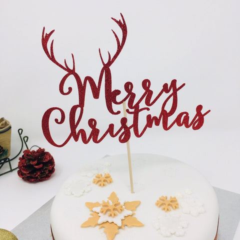Merry Christmas Cake Topper with Reindeer Antler