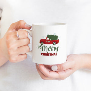 Merry Christmas mug with red Christmas truck, Christmas present, Christmas gift Coffee Mug