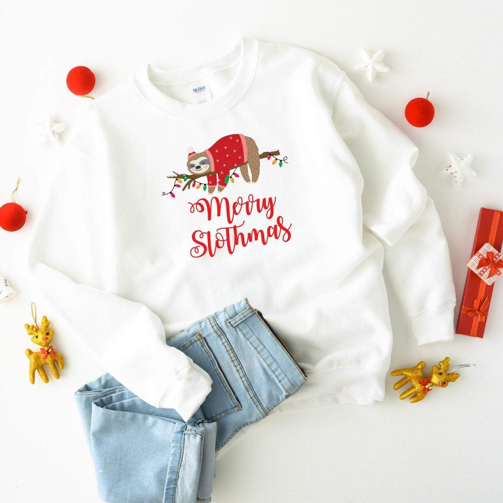 Merry Slothmas Christmas Jumper, Suitable for all family members, Matching Sloth , Xmas Outfit