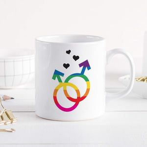 Mr & Mr mug, Gay love mug, LGBT flag colours, Mug gift for Gay Pride, Rainbow mug