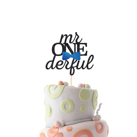 Mr Onederful Cake Topper With Bow Tie. Cute First Birthday Party Decor