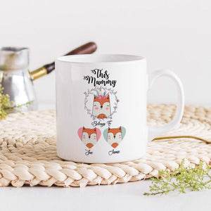 Mum mug with children names, Fox or Penguin family, Personalised Mother's Day Gift