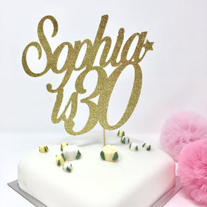 Name is Age Birthday Cake Topper, Personalised