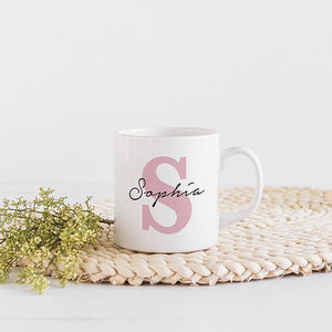 Name mug with initial , Gift for him or her , Floral Name Coffee Mug