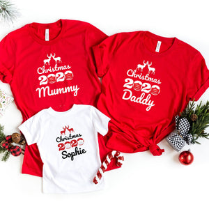 Personalised 2020 Matching Family mask design Christmas T- shirts, The year of lockdown, Xmas top