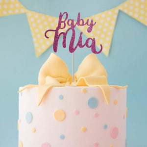 Personalised baby shower cake topper and 3 piece of centrepiece