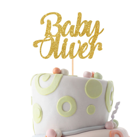 Personalised baby shower cake topper with a name. Welcome baby party cake