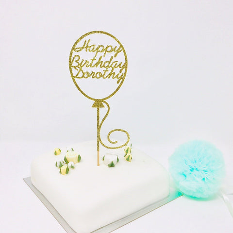 Personalised Balloon Name and Age Birthday Cake Topper