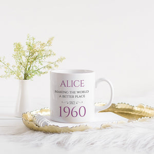 Personalised Birthday Mug with name and year, Gift for him and her