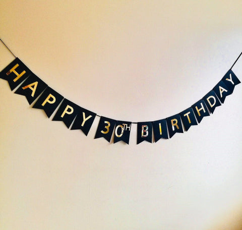 Personalised Black and Gold Happy Birthday Banner