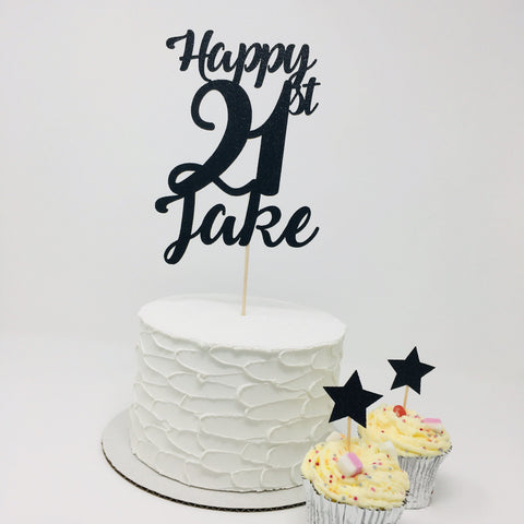 Personalised Cake Topper Set with Star Cupcake toppers
