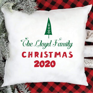 Personalised Christmas cushion cover with the family name, Xmas 2020 decorations