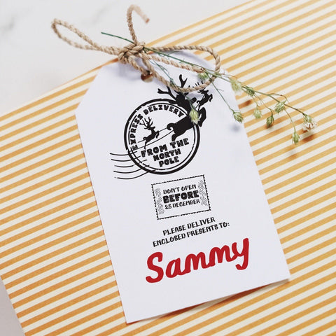 Personalised Christmas gift tag. North Pole Express Delivery, Present Tags