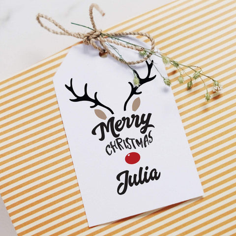Personalised Christmas gift tag with a name. Printed Xmas gift wrapping. Present Tags