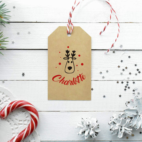 Personalised Christmas gift tag with reindeer. Printed Xmas gift wrapping with a name