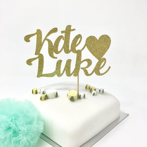 Personalised Couple Names with Heart Cake topper