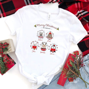 Personalised Cute Animal Family Christmas T- shirts, SUITABLE ALL AGES, Matching Family Xmas top