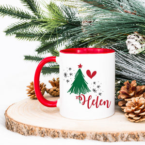 Personalised Cute Christmas tree name mug with Red Inner & Handle, Christmas Gift for her