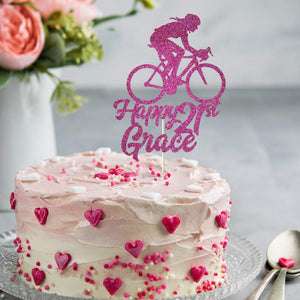 Personalised Cycling Name and Age Birthday Cake Topper, Bicycle, Bike, Cyclist party decor