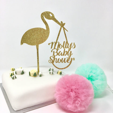 Personalised Delivery Stork Baby Shower Cake Topper with Name