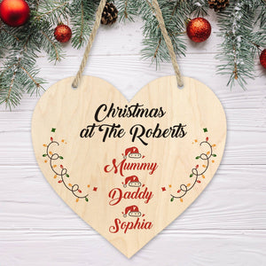 Personalised Family Christmas keepsake, 18x15 cm Wooden Heart Plaque