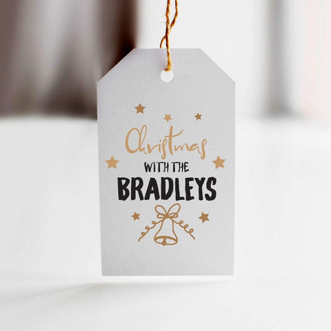 Personalised family name Christmas gift tag. Xmas gift wrapping with a name. Present Tags