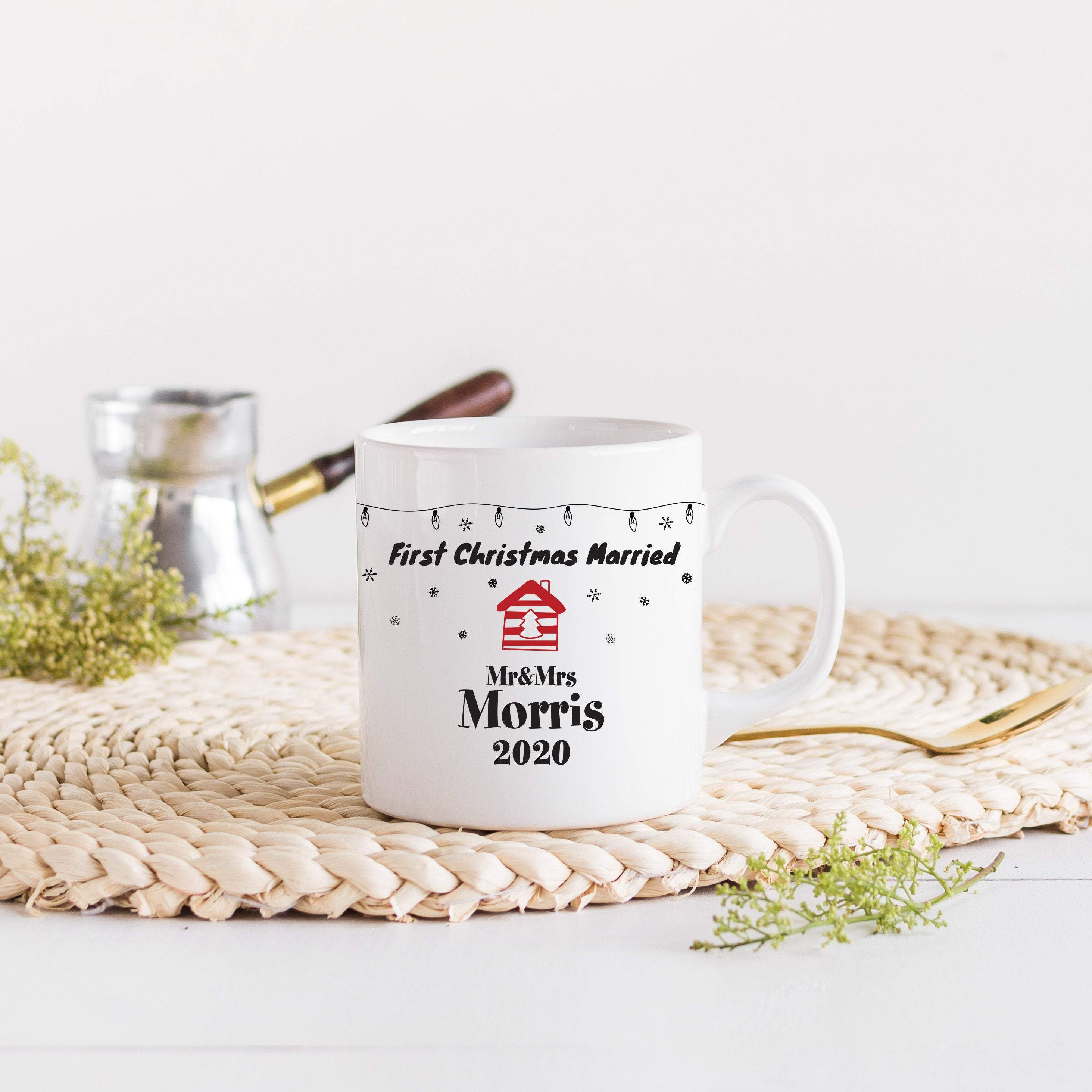 Personalised First Christmas married mug, Christmas 2020