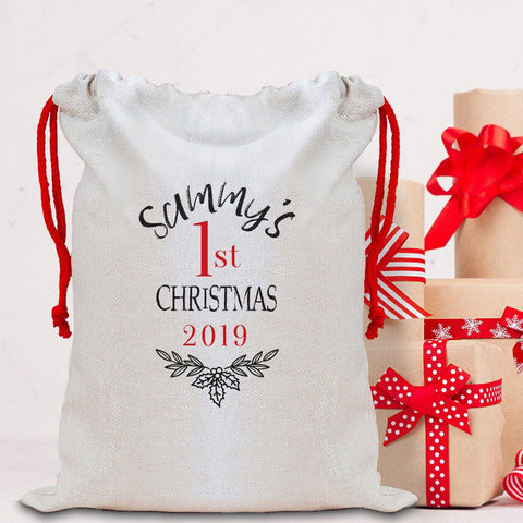 Personalised First Christmas Sack with a name, Personalised Large Linen Santa Sack, Xmas Bags