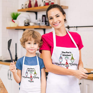 Personalised gnomes Matching family aprons with names, Mum, dad, son and daughter aprons