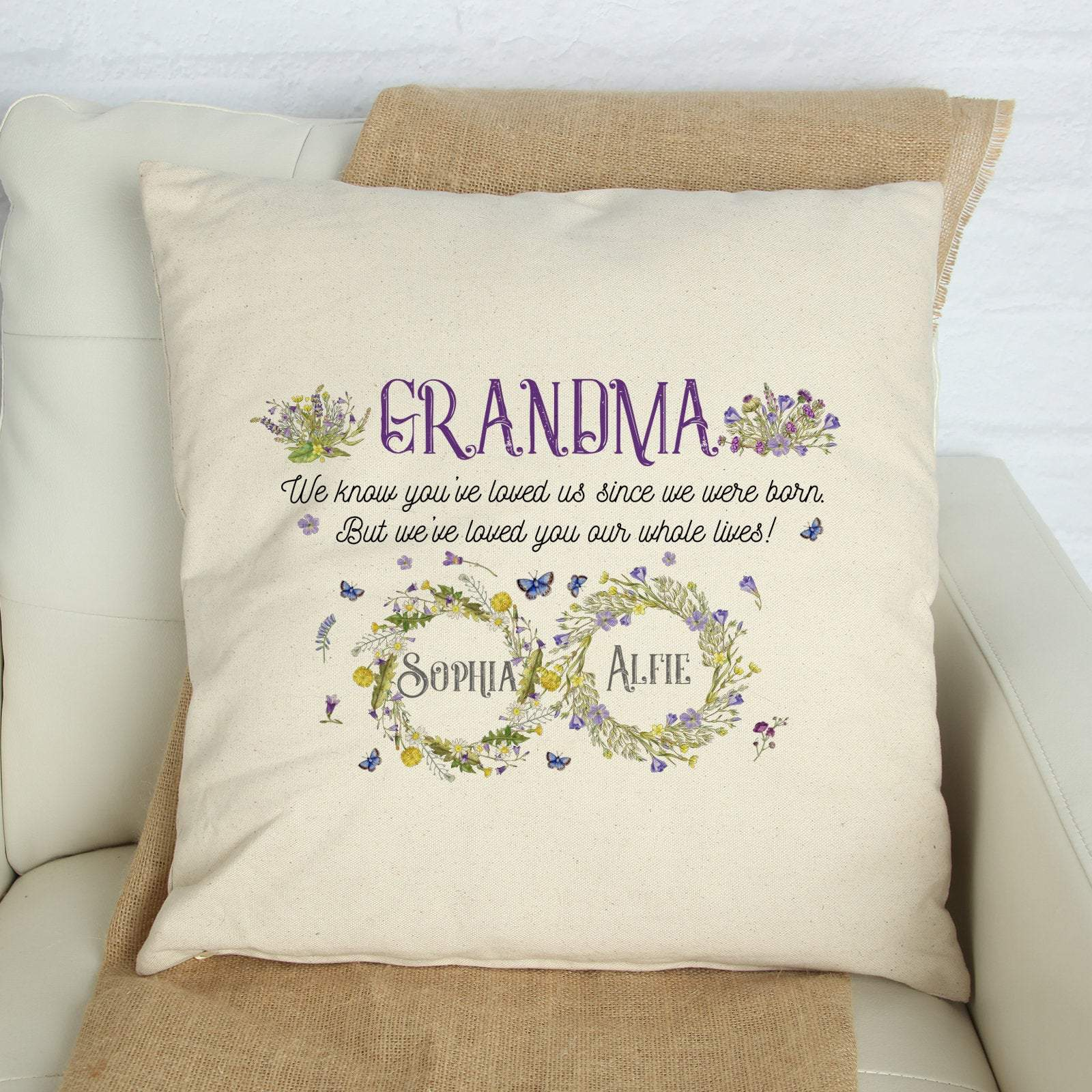 Personalised grandma cushion cover with grandchildren names, Personalised grandma gift