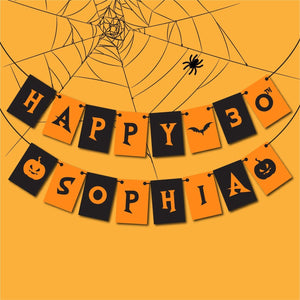Personalised Halloween Birthday Banner with a Name