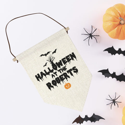 Personalised Halloween Party Decor with the family name. Halloween decor. Halloween at the...