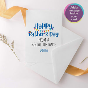 Personalised Happy Father's Day From A Social Distance Card, Father's Day Greetings Card