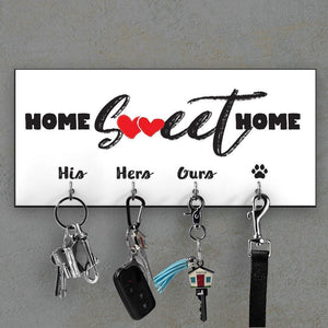 Personalised key ring holder for wall, Key hanger with the family name, Personalized housewarming gift