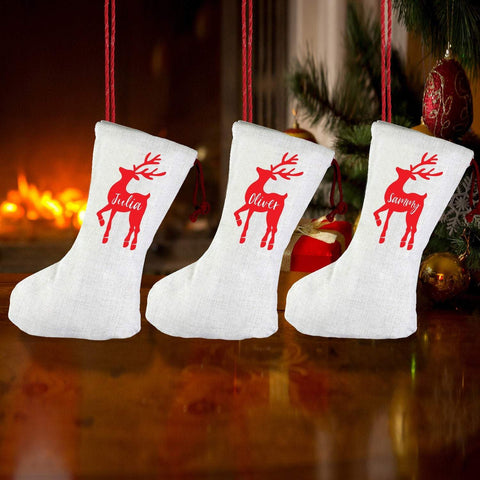 Personalised Linen Family Christmas Stockings, Reindeer xmas stocking