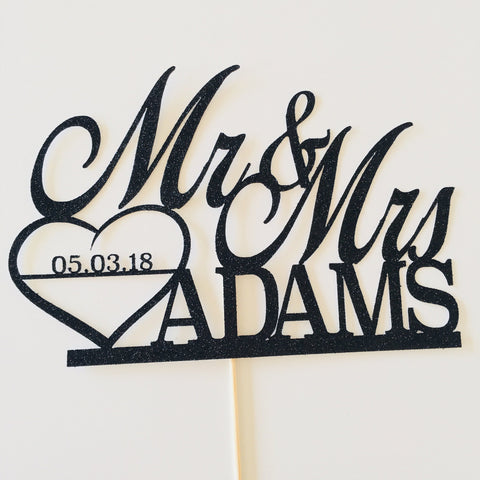 Personalised Mr and Mrs Cake Topper With The Wedding Date