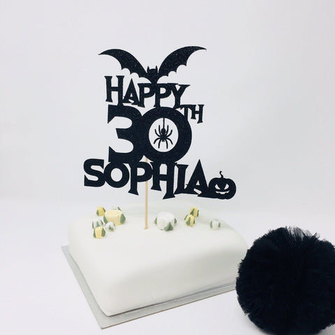 Personalised Name and Age Halloween Birthday Cake Topper