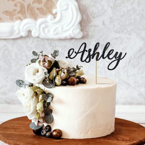 Personalised name cake topper. DOUBLE sided. Customised cake topper