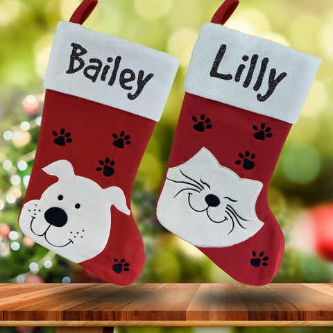 Personalised Pet Christmas Stockings. Dog or Cat Xmas stocking