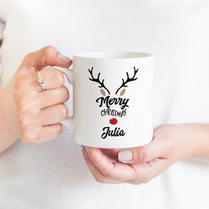 Personalised Reindeer Merry Christmas Mug With Name, Rudolph Christmas Gift For Her Or Him
