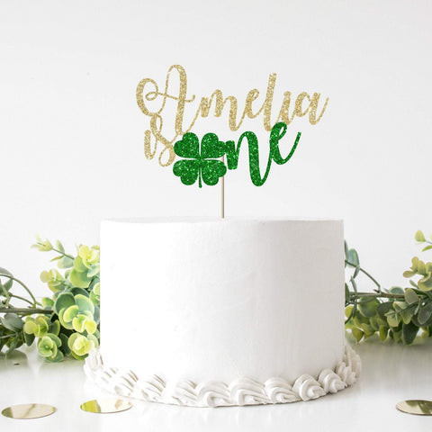 Personalised St. Patricks Day themed Birthday cake topper. One shamrock First birthday