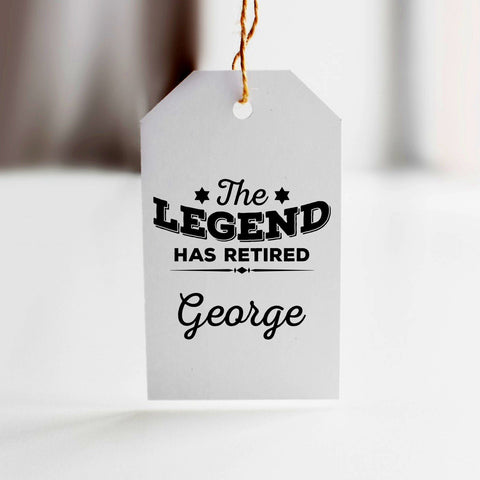 Personalised the legend are retired gift tag with name. Printed gift tag for retirement party.