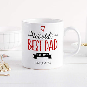 Personalised World'S Best Dad Mug, Father's Day Gift, Gift For New Dad
