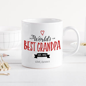 Personalised World'S Best Grandpa Mug With Est. Date , Father's Day Gift