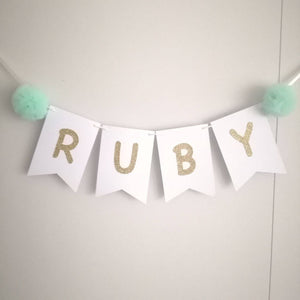 Personalized Name Banner with Tulle Pompom