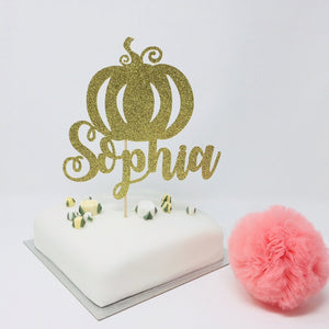 Pumpkin Party Cake Topper with a Name